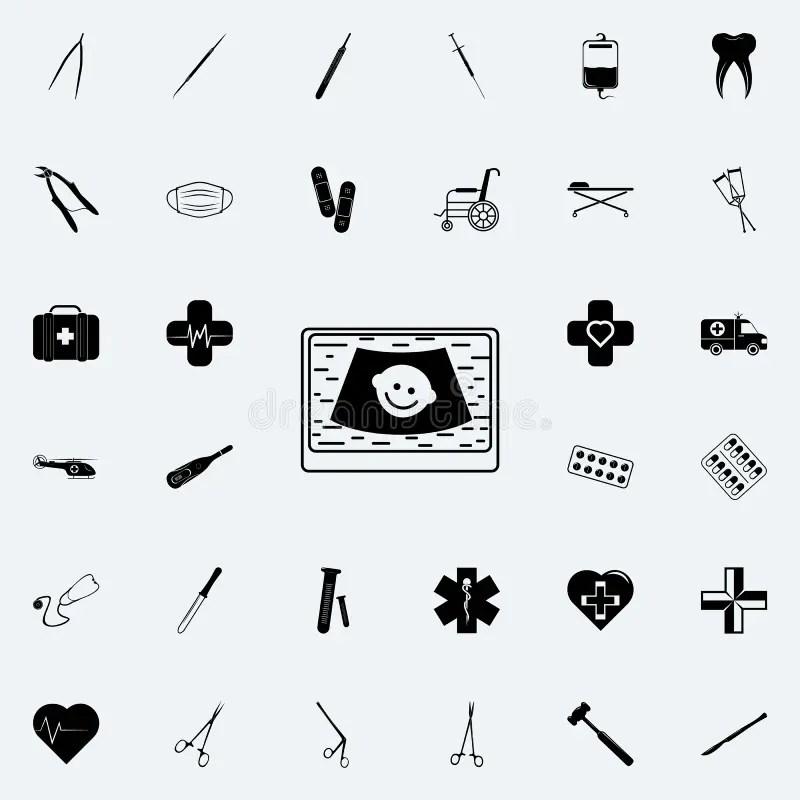 Digital Ultrasonic Diagnostic Icon. Element Of Medical