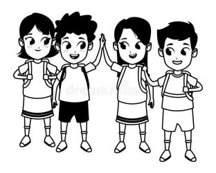 Childhood Cute School Students Cartoon In Black And White Stock Vector Illustration of childhood laughing: 153508950
