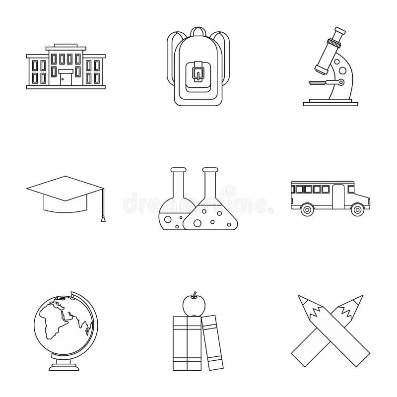 Education Of Children Icons Set, Isometric Style Stock