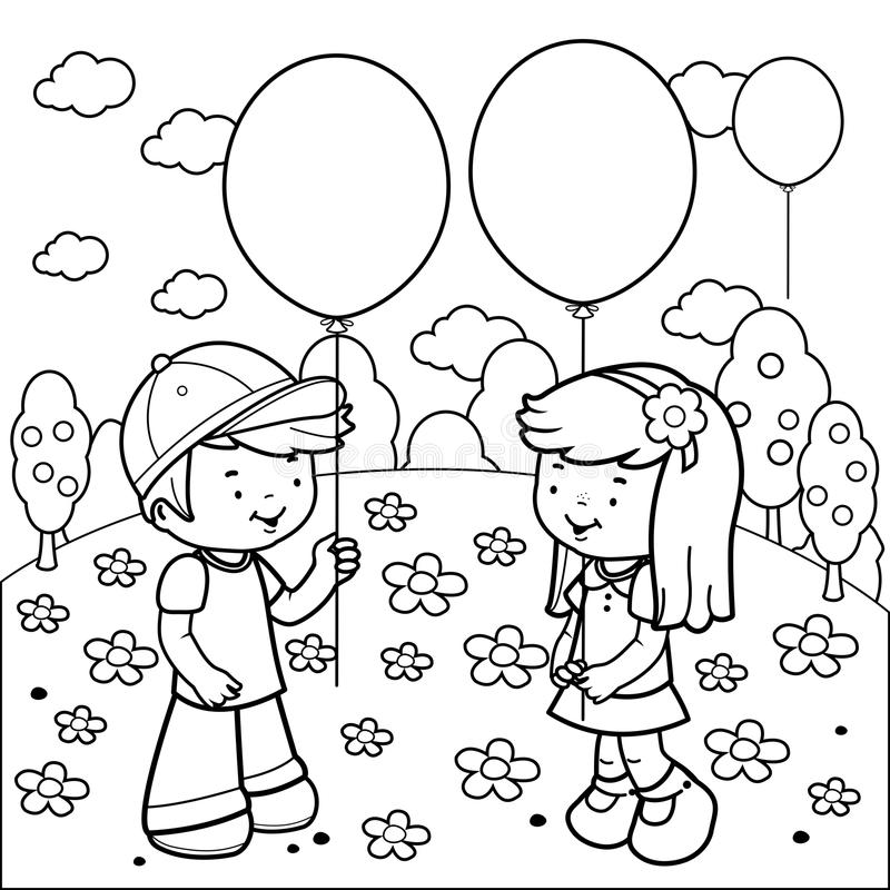 Children At The Park Playing With Balloons. Coloring Book