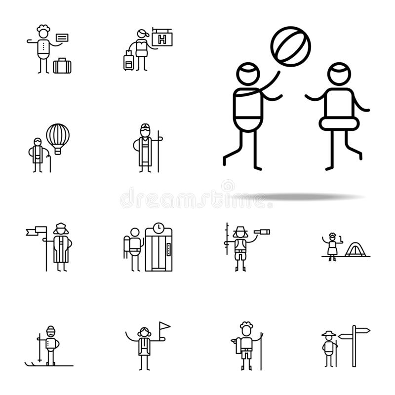 Set Of Black School Children Silhouette Icons Stock Vector