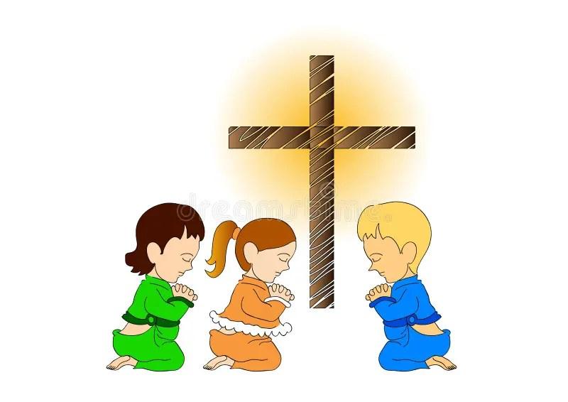 children praying stock illustrations