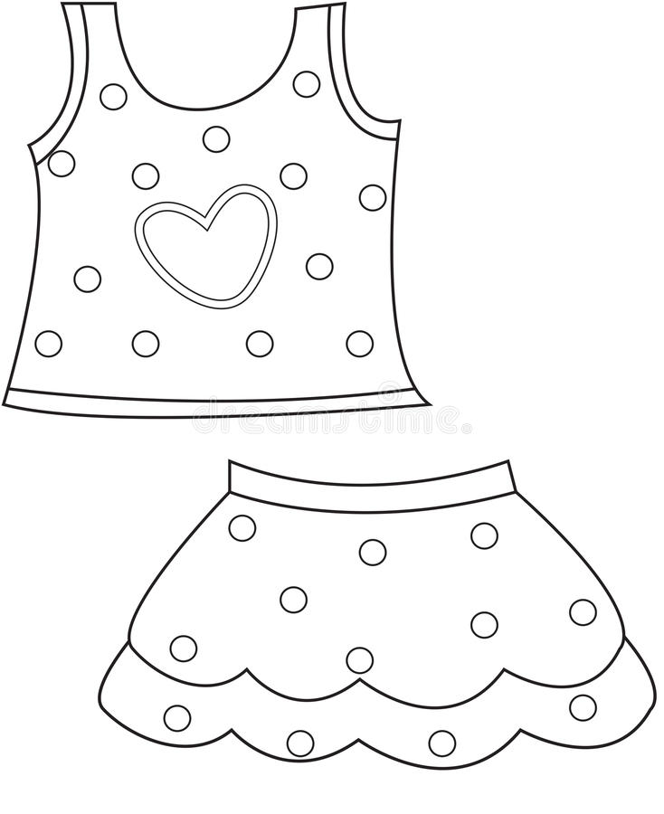 Children's Clothing Coloring Page Stock Illustration