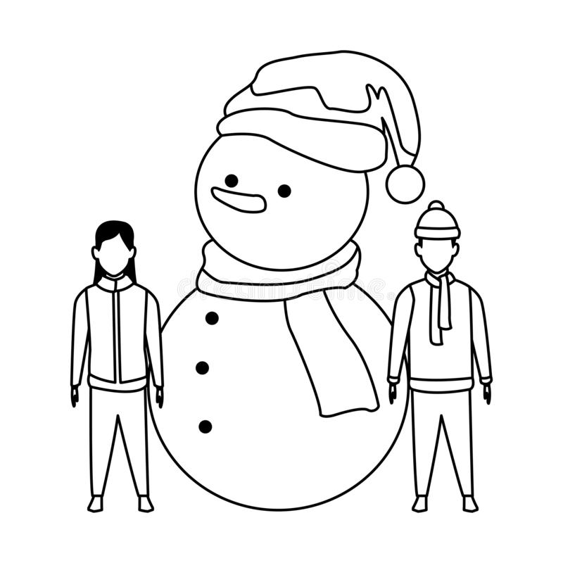 Snowman with Black Cap stock vector. Illustration of