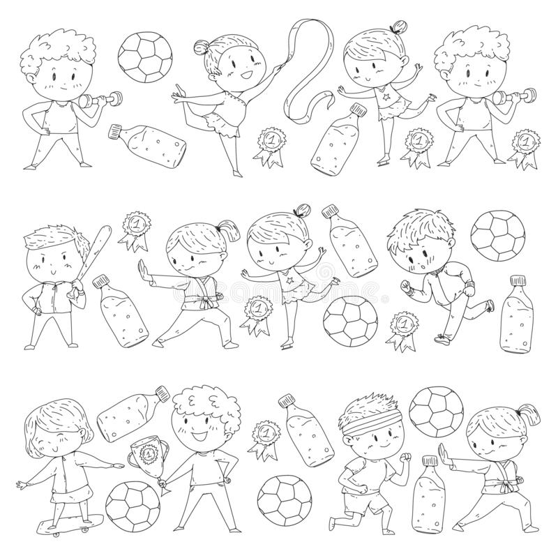 Girl Soccer Player Coloring Page Stock Vector
