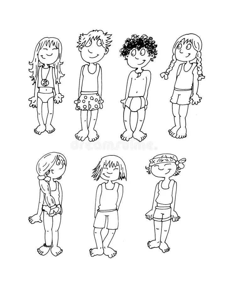 Children Of Various Nationalities In Their Underwear Chine
