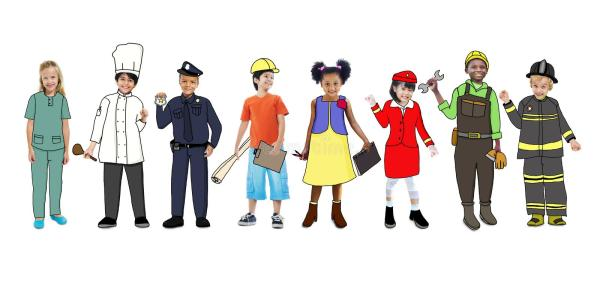 children wearing dream job uniforms
