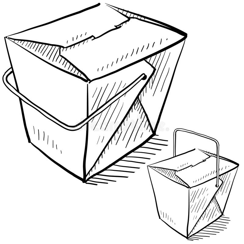 Chinese takeout boxes stock vector. Illustration of handle