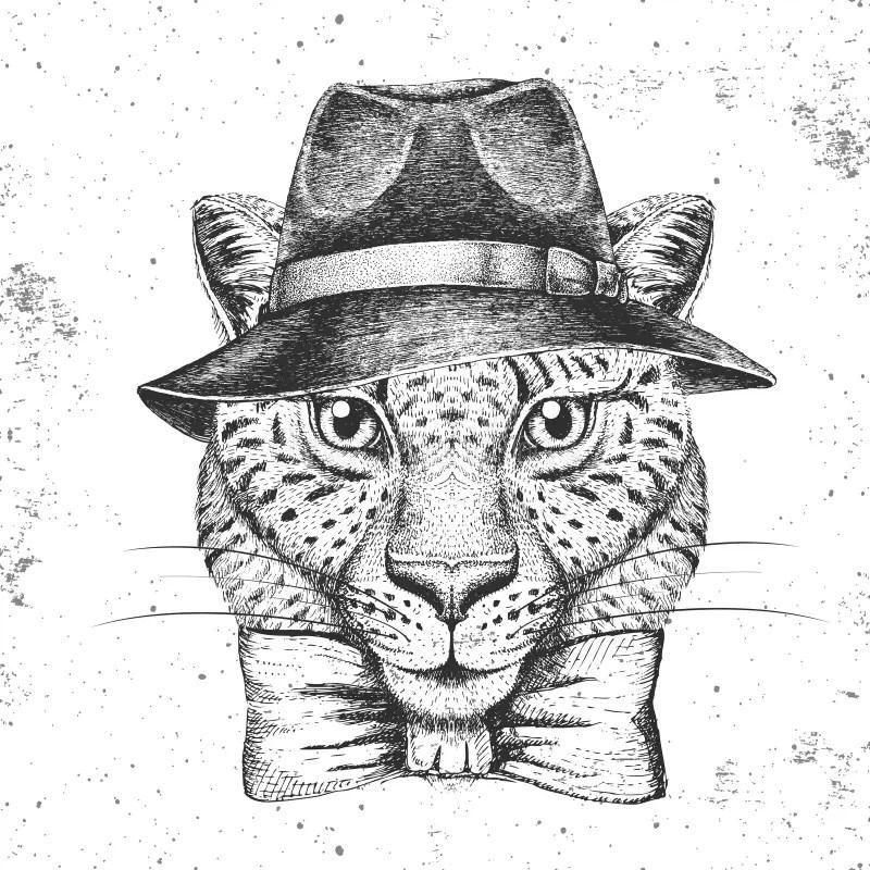 Chita Hipster Con Sombrero. Dibujo Manual Bozal De Chita
