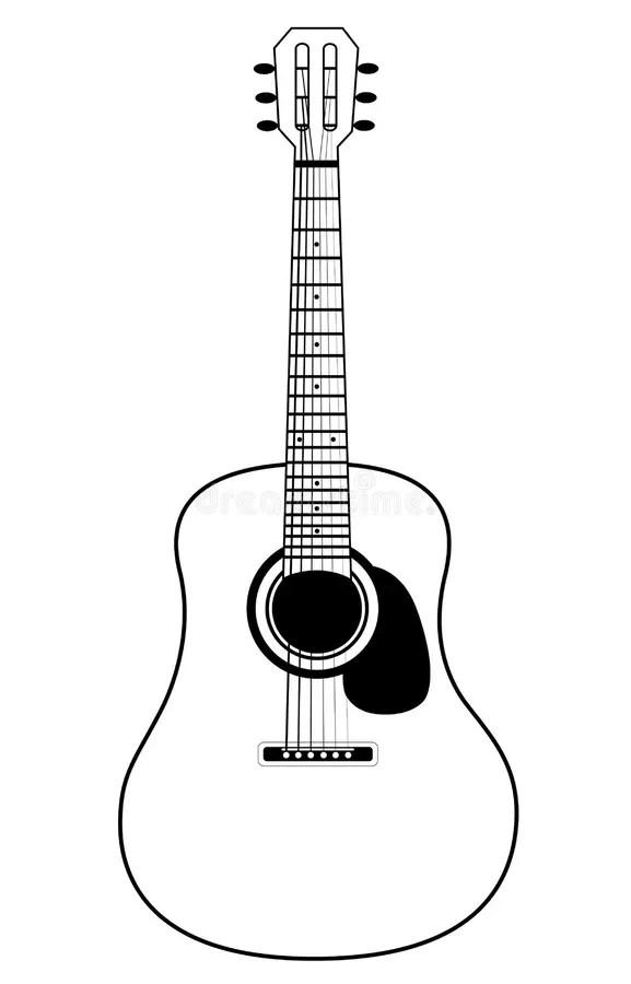 Chitarra Acustica Stilizzata Illustrazione Vettoriale