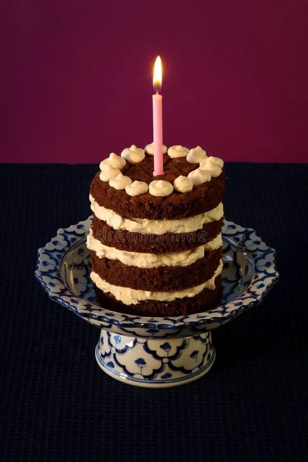 Chocolate Birthday Cake Burning Candle Royalty Free Stock