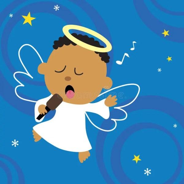 Christmas Angel Singing Heart Stock Vector
