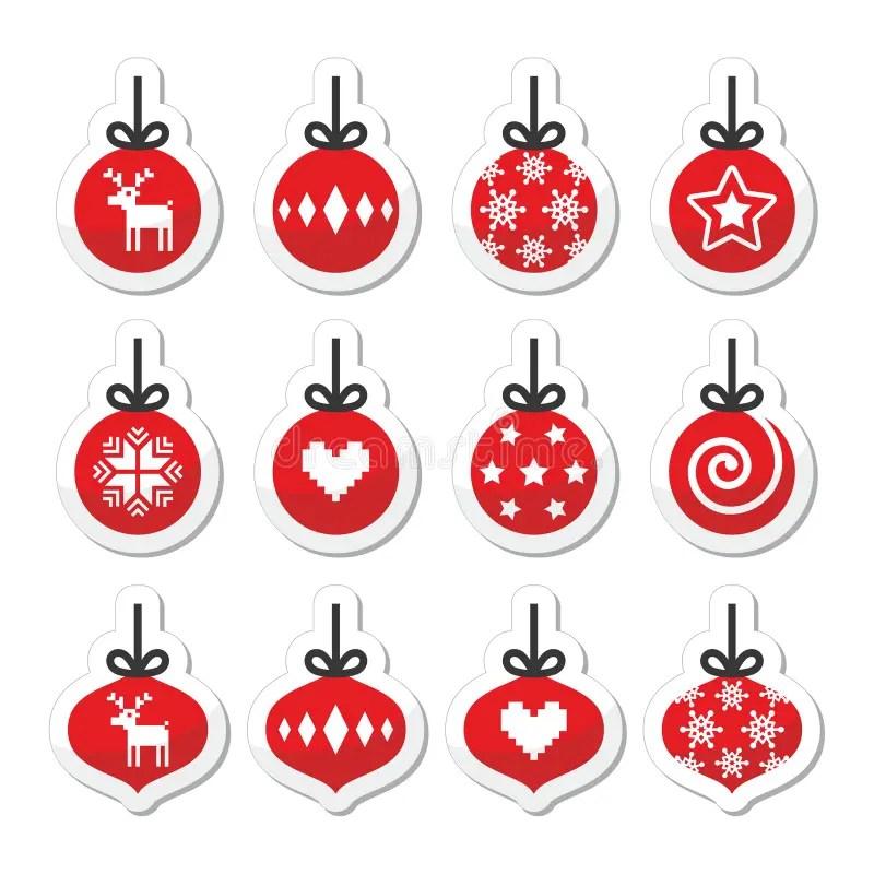 Christmas Ball Christmas Bauble Red Icons Set Stock
