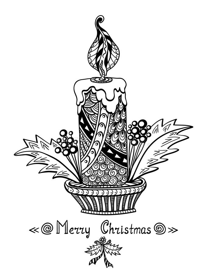 Christmas Candle In Zen-doodle Style Black On White Stock