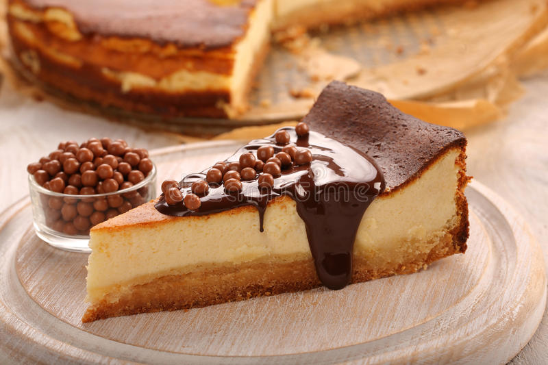 Christmas Cheesecake Slice With Melted Chocolate Stock Photo - Image of slice. brown: 85579414