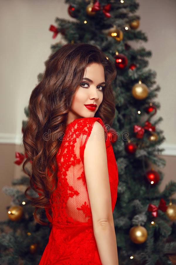 Christmas Hairstyle Beautiful Brunette Smiling Woman