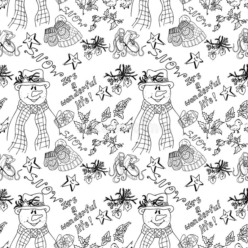 Winter Holiday Seamless Knitted Pattern With Snowman And