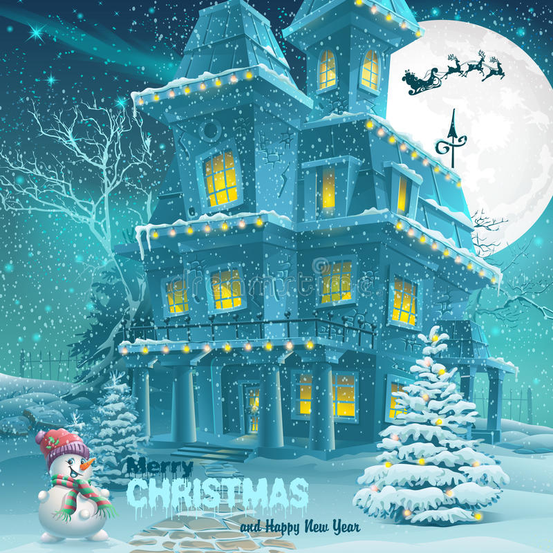 Christmas And New Year Greeting Card With The Image Of A