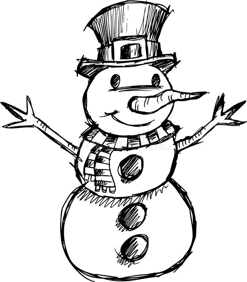 Christmas Sketchy Snowman Vector Stock Vector