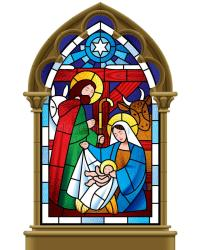 Christmas Stained Glass Window In Gothic Frame Stock ...