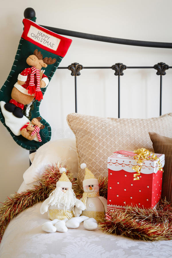 pictures of contemporary living rooms decorated portable room furniture christmas stocking on bed royalty free stock photo - image ...