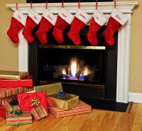 Christmas Stockings By The Fireplace Stock Image - Image ...
