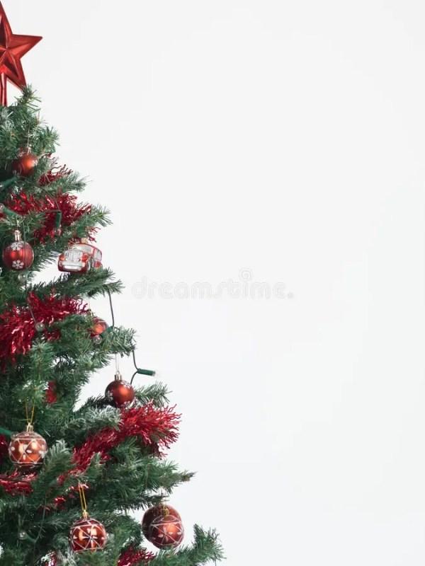 Christmas Tree Border Isolated On White Stock Photo