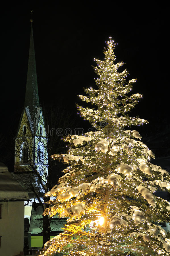Christmas Tree In Ischgl Stock Photo Image Of Alps