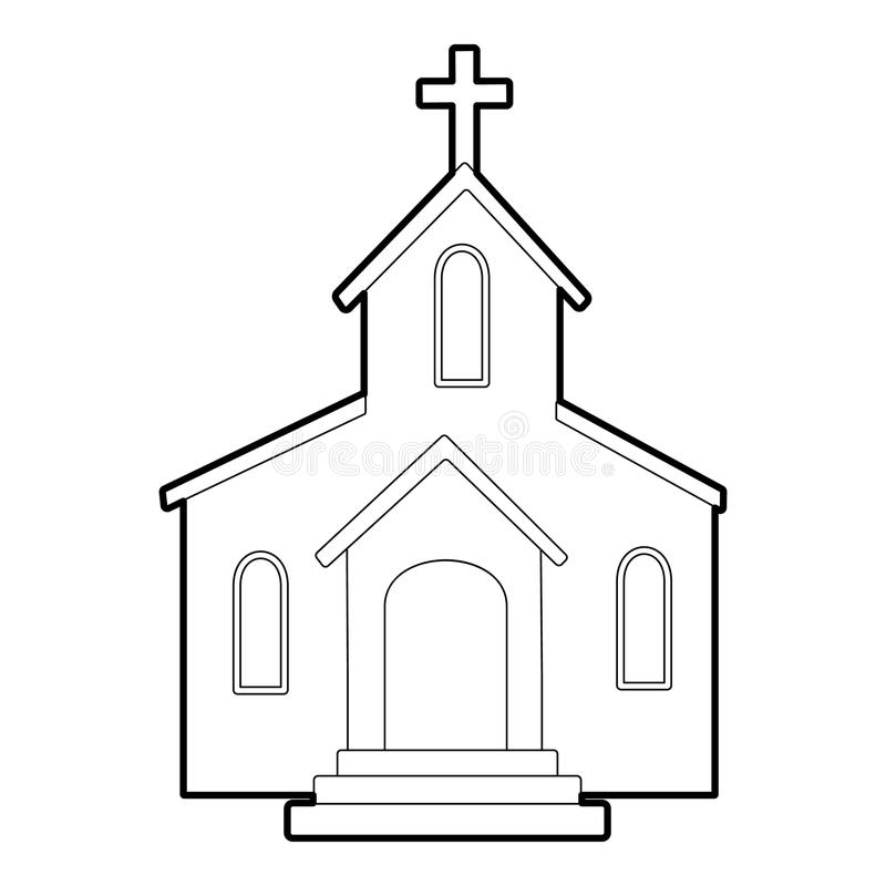 Church icon, outline style stock vector. Illustration of