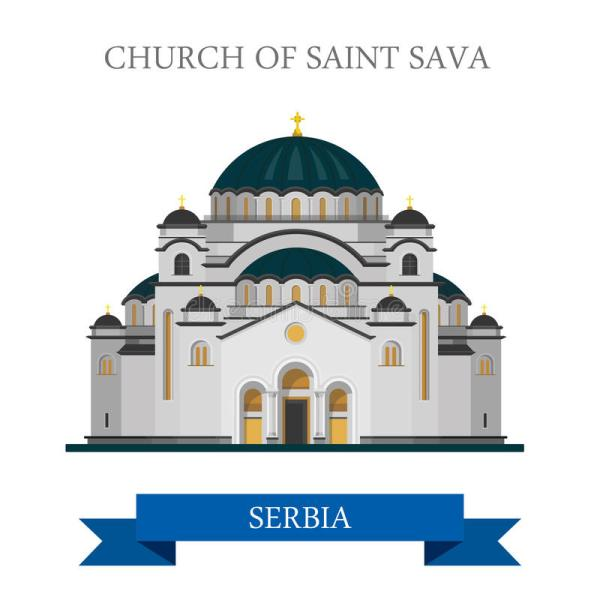 Church Saint Sava Belgrade Serbia Europe Flat Vector Landmark Stock - Illustration Of