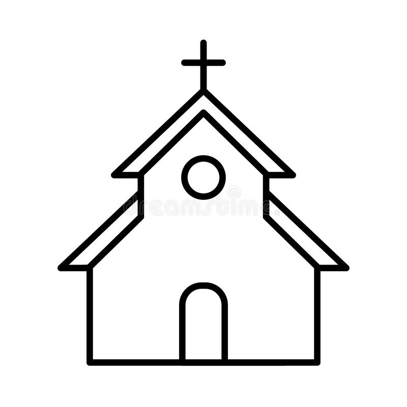 Church Vector Icon. Flat Simple Outline Icon. Easter