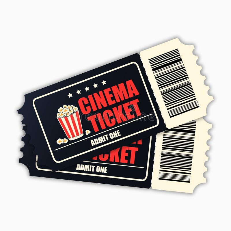 Cinema Ticket. Template Of Black Realistic Movie Tickets Isolated On ...
