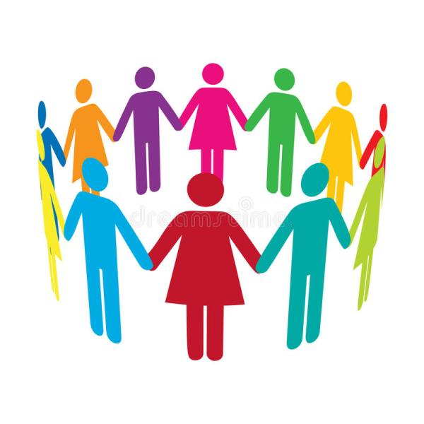 Clip Art of People Holding Hands in Circle
