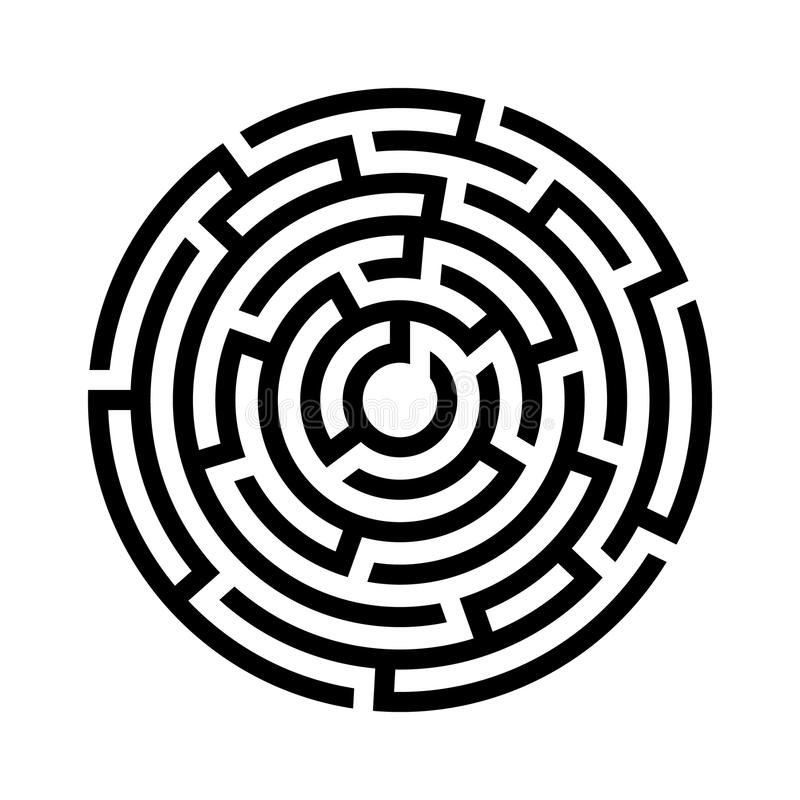 Circle maze icon. stock vector. Illustration of find
