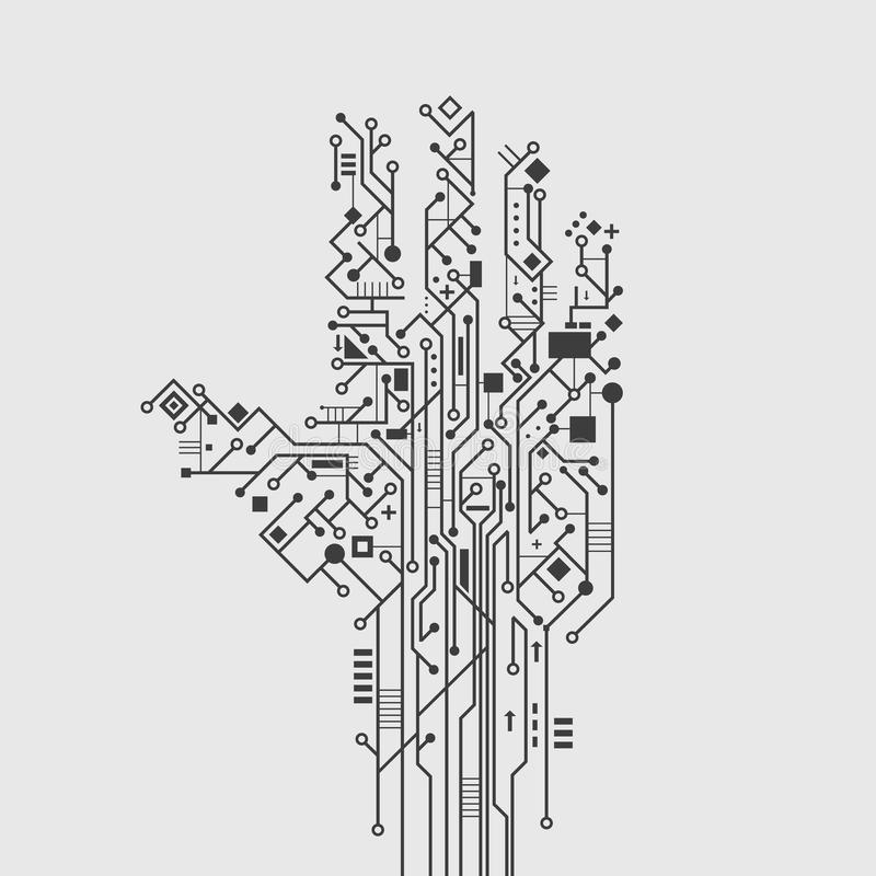 Circuit Board Hand stock vector. Illustration of flyer