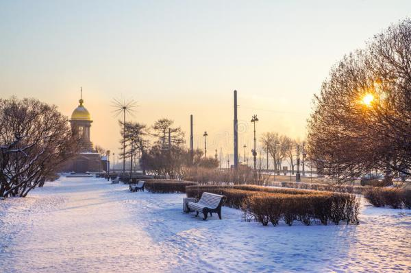 city winter landscape. saint-petersburg