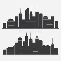 Cityscape Silhouettes Royalty Free Stock