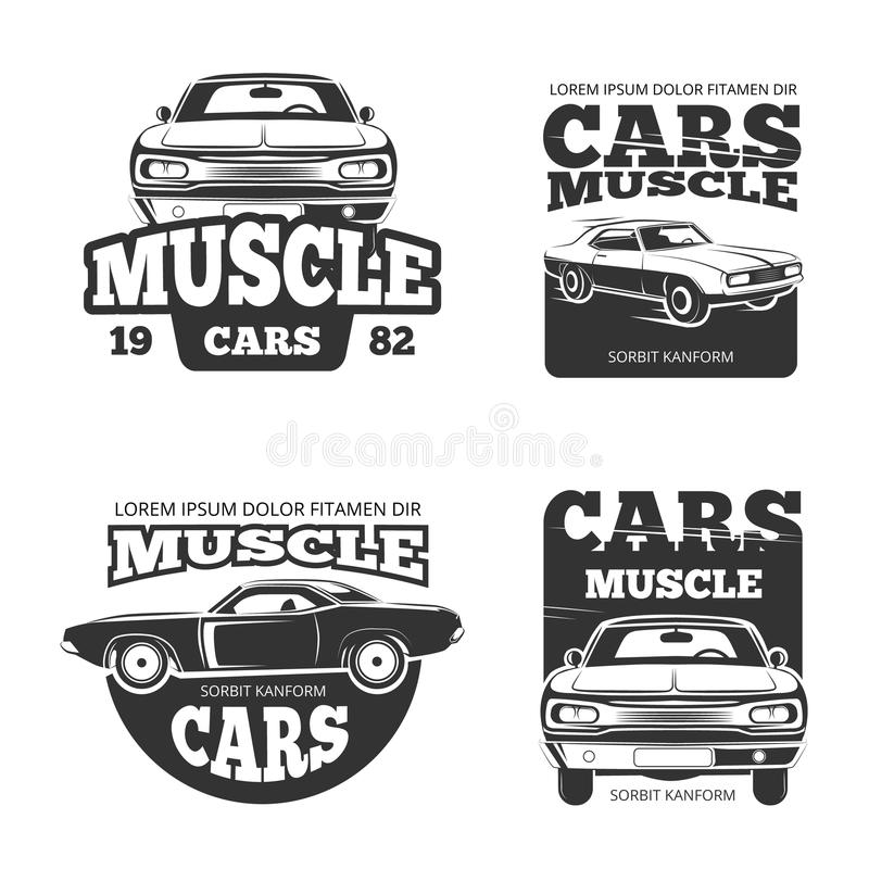 Classic Muscle Car Vintage Vector Labels, Logo, Emblems