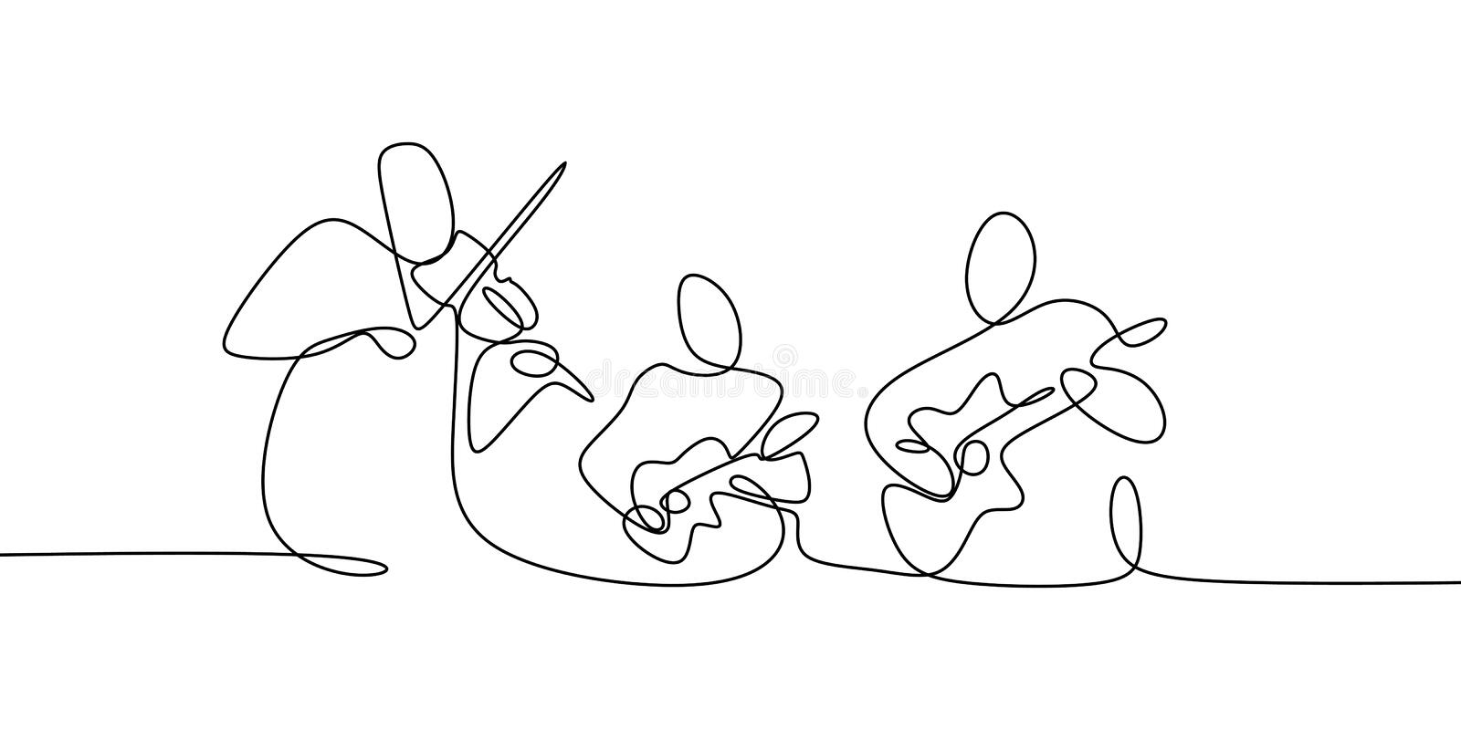 Music Festival Concert One Line Drawing. Continuous Single