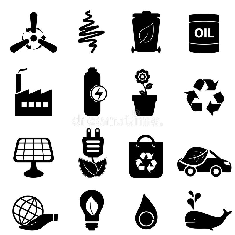 Clean Energy And Environment Icons Royalty Free Stock