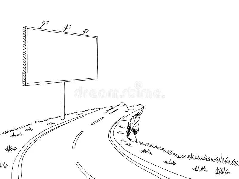 Road Billboard Graphic Color Landscape Sketch Illustration