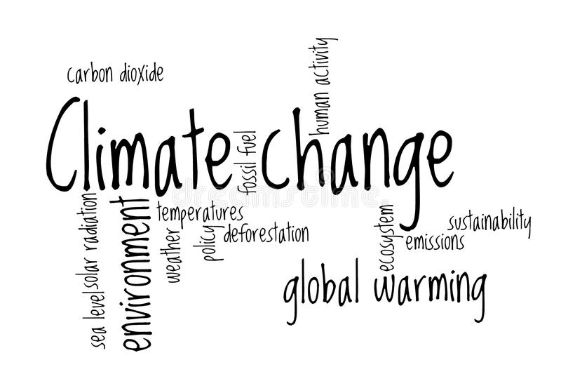 Climate change word cloud stock illustration. Image of