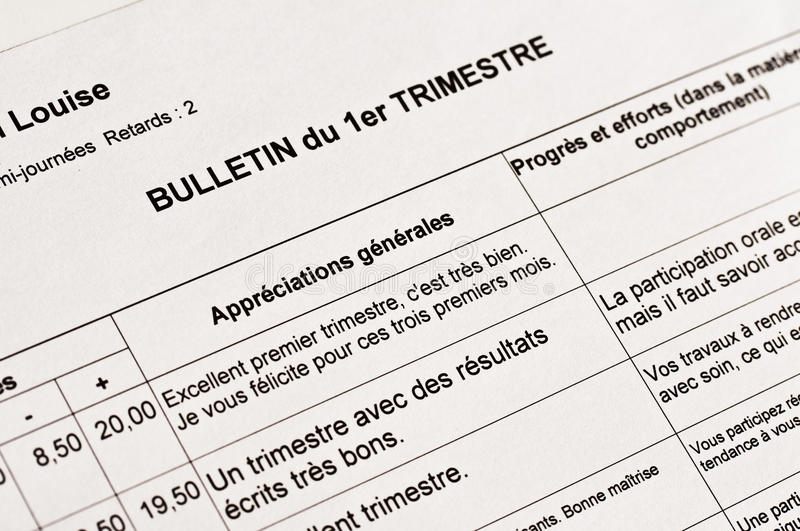 Close Up Of An Anonymous French School Report Stock Image