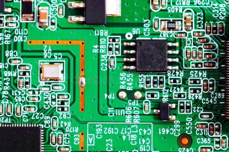 Close-up Of Electronic Circuit Board. Macro . Stock Photo