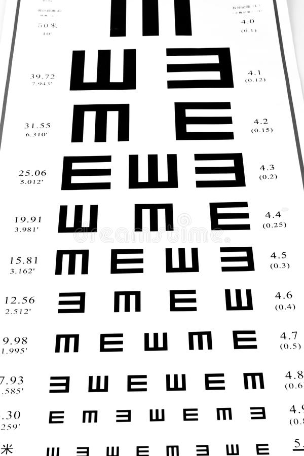 Eyesight Test Chart On White Background Close-up Royalty