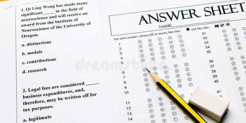 Closeup English Question And Answer Sheet Stock Photo