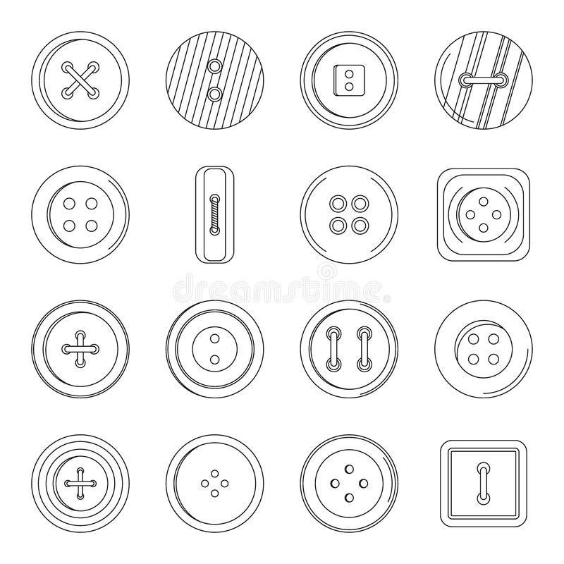 Clothes Button Icons Set, Outline Style Stock Vector