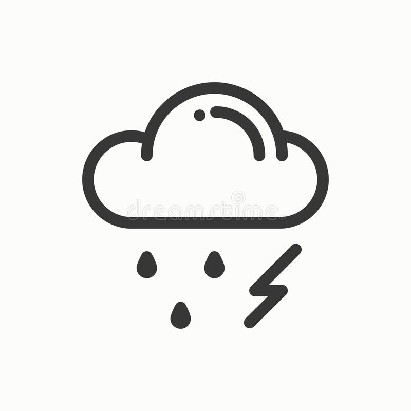 Cloud And Rain Isolated. Weather Template Vector