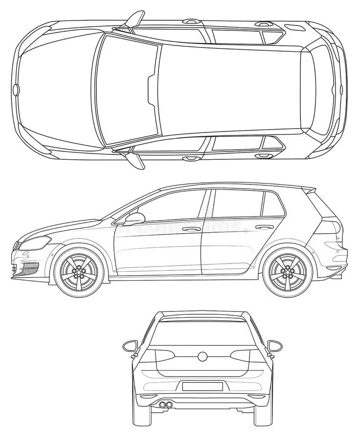 Golf 5 de Volkswagen ilustración del vector. Ilustración