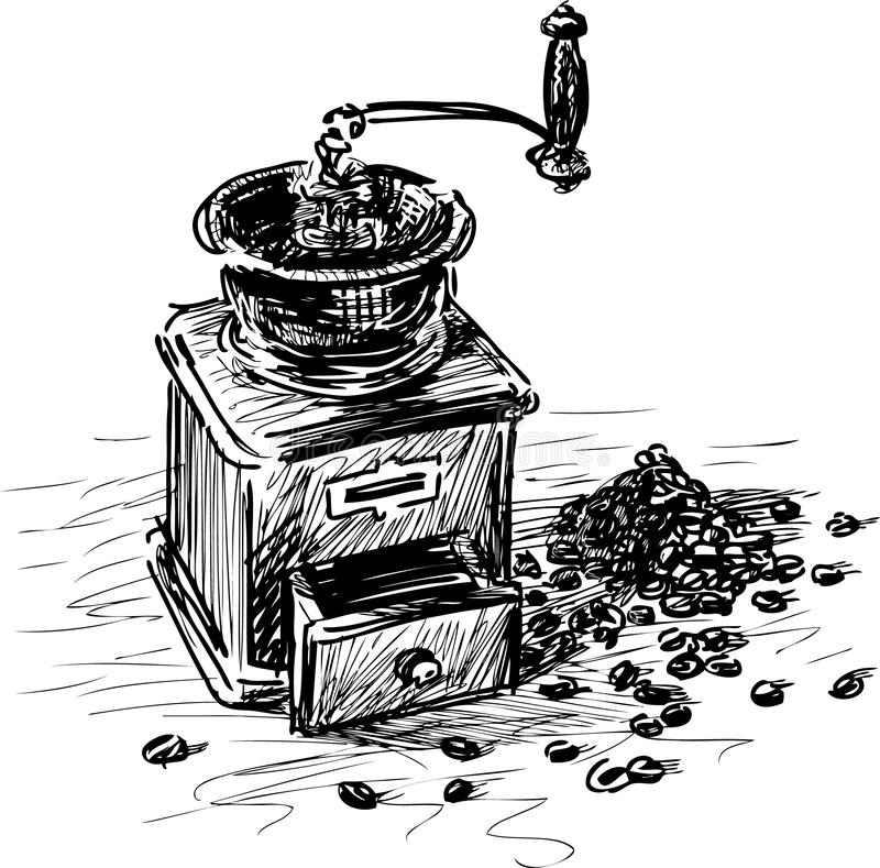 Vintage coffee grinder stock vector. Illustration of